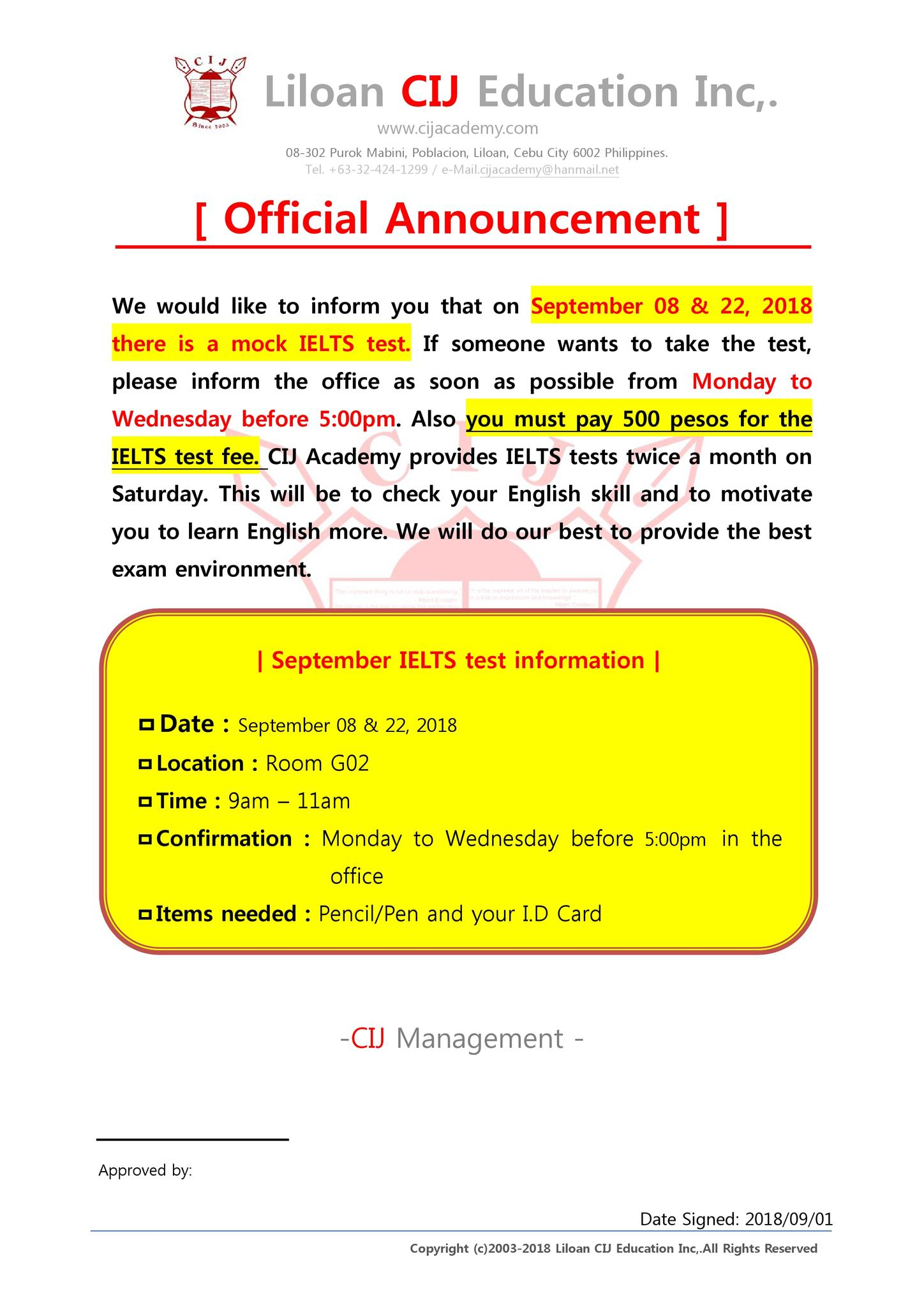mock ielts schedule for september in sparta campus cij academy