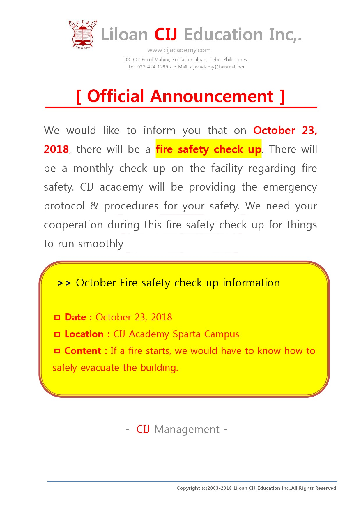 Announcement] Fire Safety Check-Up for October 2018 in