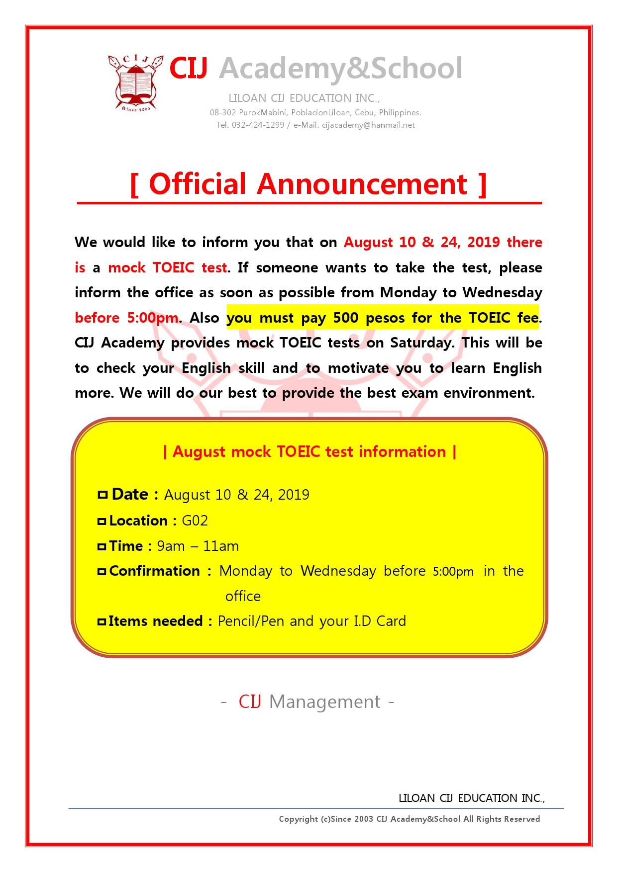 Announcement] Mock TOEIC Test for August 2019 in Sparta