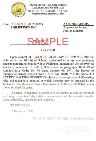 フィリピンのSSP(Special Study Permit)